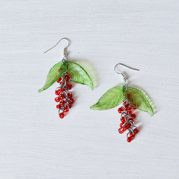 Beautiful Dangle Berries Earrings - Red Berries Jewelry - Gift for Her