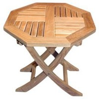 One Kings Lane - Outdoor Furniture - Teak Octagon Folding Side Table