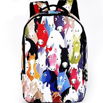 3D Animal Backpacks Men's Travel Backpack Horse School Bag for Teenagers Men Children Bagpack College Student Bookbag