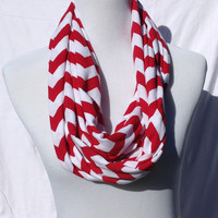Red and white chevron Infinity scarf, Red and white Chevrons Zig Zag, jersey knit scarf, infinity scarf, bridesmaid gift