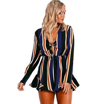 Smoves New Woman Sexy Loose Fit Deep V Neck Front Knot Ruffled Stripe Romper Playsuit Jumpsuit GJ111