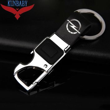 KUNBABY Metal Leather Car Key Chain Ring Holder With LED Bottle Opener Multifunctional Tool For Opel