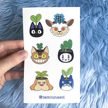 Studio Ghibli Planter Vinyl Sticker Sheet // houseplants, plants, Jiji, Heen, Totoro, No Face, Nekobus, Forest Spirit, planner, kawaii