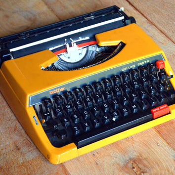 Christmas SALE! Working Typewriter - Beautiful Mango colored Brother 250 De Luxe - Fully Serviced