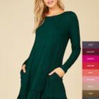 Hunter Green Long Sleeve Rounded Neck Tunic Dress