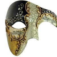 Half Men Face Mask Musical Venetian Masquerade Mask Phantom Vintage Design