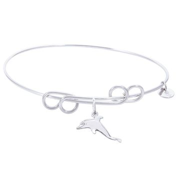 Sterling Silver Carefree Bangle Bracelet With Dolphin Charm