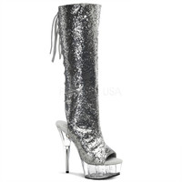 Silver Exotic Dancing Knee High Boots 6 Inch Heels