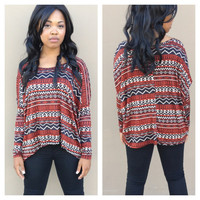 Rust & Black Print Long Sleeve Top