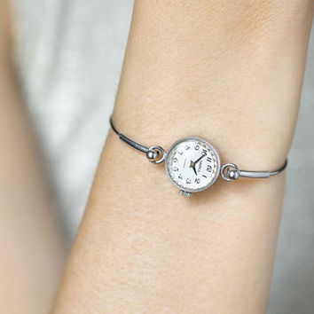 Vintage cocktail watch for women Seagull - small lady watch bracelet silver shade – micro watch party wristwatch - feminine watch gift her