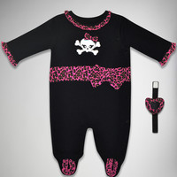 Pink Leopard Rattle and Romper Set 2 Pc