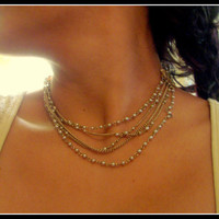 Stunning 1950s Coro Multi Chain and Pearl Choker Necklace Art Nouveau