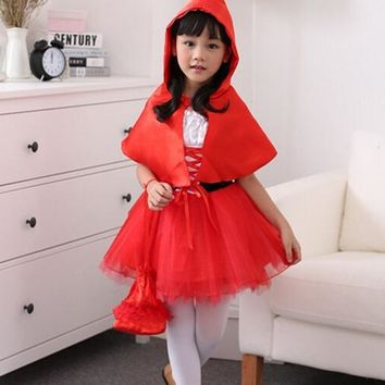 Little Red Riding 90-160cm Hood cosplay carnival kid child suit party costume halloween role-playing dress+cloak girl uniform