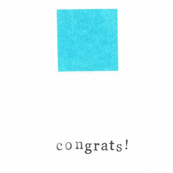 Simple Blue Baby Congratulations Card It's A Boy Modern Congrats Minimalist Welcome New Baby Pregnant Birth Newborn Hipster Funny Cute