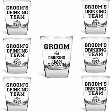 Groomsmen Gifts Groom's Drinking Team Shot Glasses - Pack of 6 Groom's Drinking Team Member + 1 Groom's Drinking Team Captain - 1.5 oz - Bachelor Party Favors