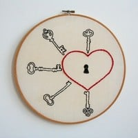 Hand Embroidery Hoop - Love Lock