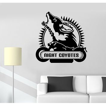 Wall Decal Wolf Coyote Motorcycle Phrase Animal Garage Decor Vinyl Sticker (ed1617)