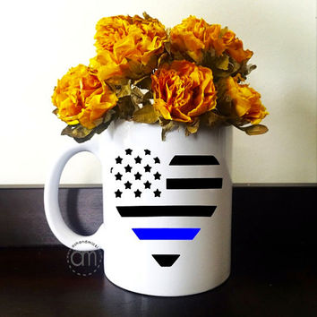 Police Officer Gift, Police Thin Blue Line Mug