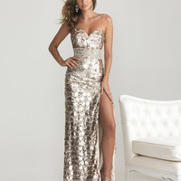 Light Gold Sequin Sweetheart Rhinestone Empire Waist Prom Dress - Unique Vintage - Cocktail, Pinup, Holiday & Prom Dresses.