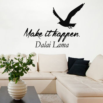 Bird Wall Decals Dalai Lama Quote Make It Happen Sea Gull Words Vinyl Sticker Decal Home Decor Birds Art Mural Bedroom Interior Design KG895