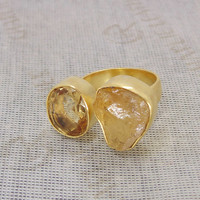 Citrine Ring - Yellow Gold Plated Ring - Raw Gemstone Ring - Handcrafted Ring - Adjustable Ring - Gold Brass Ring - Christmas Gift Ideas