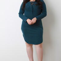 Plus Size Lace-Up Round Hem Sweater Dress