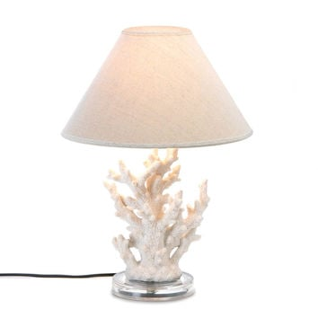 Desk Lamps, White Polyresin Coral Small Bedside Lamps For Bedrooms
