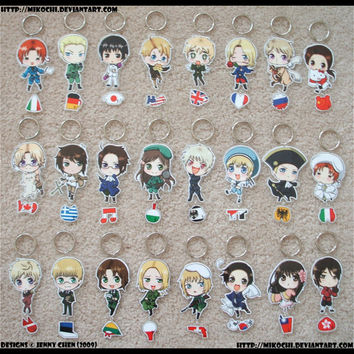 Any 5 Laminated Keychains: Hetalia, Kuroshitsuji and Professor Layton