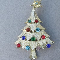 Christmas Tree Pin, Vintage Multi-Color Rhinestone Signed PIM