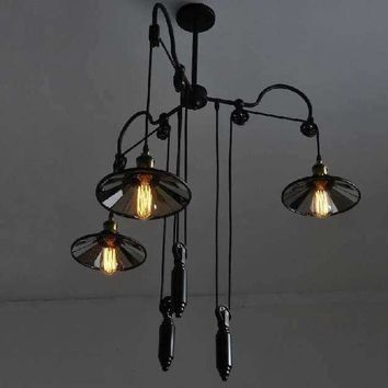 loft style Industrial pulley vintage Pendant Chandelier Edison Ceiling Pendant Lamp for home decoration