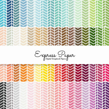SALE 64 Colored Background herringbone Pattern Digital Papers-12x12 & 8.5x11 included-Digital Paper includes dark, bright, neutral, pastels