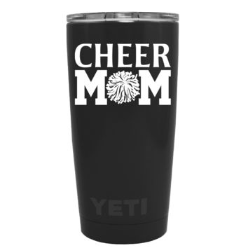 YETI 20 oz Cheer Mom Pom Pom on Black Matte Tumbler