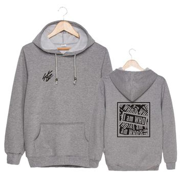 New Fashion Sport Hooded Pullover, Men Casual Long Sleeve Sweatshirt with Front Pocket I am WHO Korean Style Sports Shirt