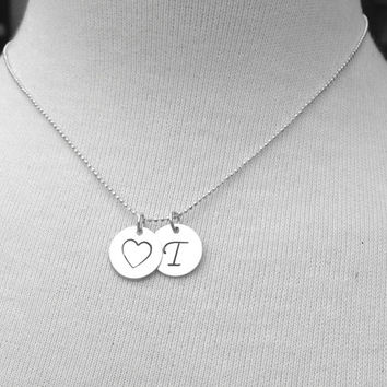 T Heart Necklace, Initial Necklace, Sterling Silver Monogram Necklace, Large Initial Pendant, Letter T Necklace, Charm Necklace, T Charm