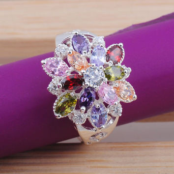 Nice hot round cut topaz gemstone 925 sterling silver ring size6 7 8 9 10 FREE SHIPPING