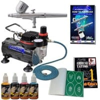 Master Airbrush Brand Tattoo System. With Master G22 Airbrush, Air Compressor, Deluxe Book of 100 Tattoo Stencils, 6' Air Hose, Black, Blue, Red & Yellow Temporary Tattoo Ink in 1-oz Bottles. The Kit Now Includes a (FREE) How to Airbrush Training Book to G