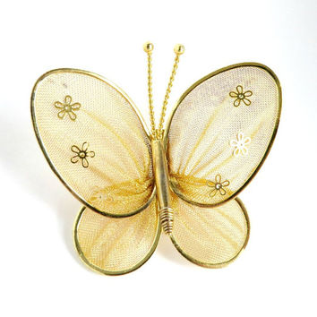 Gold Mesh Butterfly Brooch, Vintage Gold Tone Pin, Figural Pin
