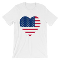 US flag in heart Unisex short sleeve t-shirt