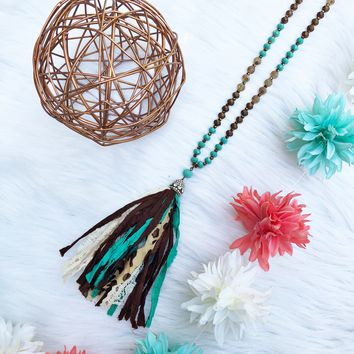Bronze Turquoise Beaded Leopard Tassel Necklace