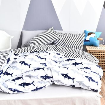 Cotton Sharks Stripe Bedding Set White Home Quilt Cover Shark Black Stripe Seasons Duvet Cover Twill Bed Set Twin Queen