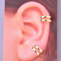 Thin Double Ear Cuffs - Gold or Silver