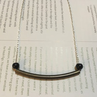 Minimalist Necklace, Brass Link on Sterling-silver Plated Chain