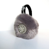 Gray faux fur earmuffs/ear muffs/scream queens earmuffs/embellished earmuffs/baroque/bling/ear warmers/plush earmuffs/fluffy earmuffs