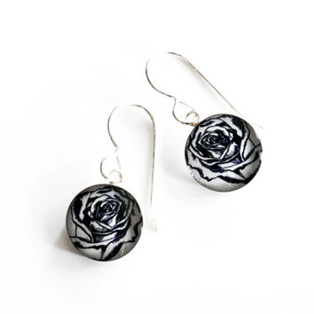 Hand drawn rose earrings made from sterling silver and clear resin , black & white circle drop earrings featuring rose flower drawings