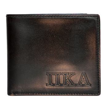 PI KAPPA ALPHA Bifold Wallet - Mens Wallet - Leather Wallet - Mens Leather Wallets - Pi Kappa Alpha - Greek