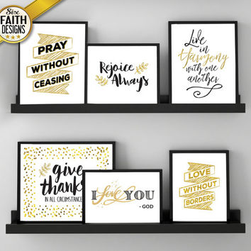 Faith Art Print Bundle (6 UNIQUE DESIGNS INCLUDED!), Scripture art, faith gift prints, gold and black, gift print set, christian wall art
