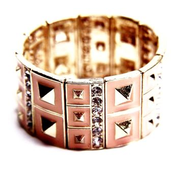 Geometric Enamel Stretch Bangle Bracelet