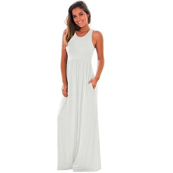 Casual White Racerback Maxi Dress with Pockets