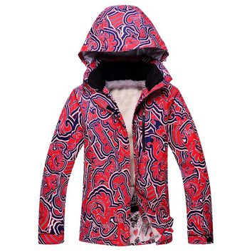 Thermal Fleece Lining snow jacket women waterproof breathable skiing coats for female outdoor windproof camping hiking jackets
