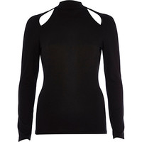 River Island Womens Black cut out turtle neck top